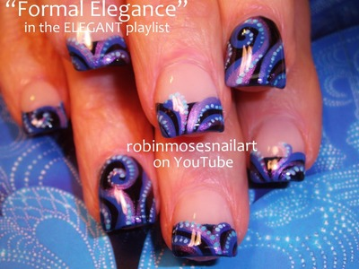 Nail Art Design | DIY Short Nail Tutorial | Elegant Blue Swirls Nails