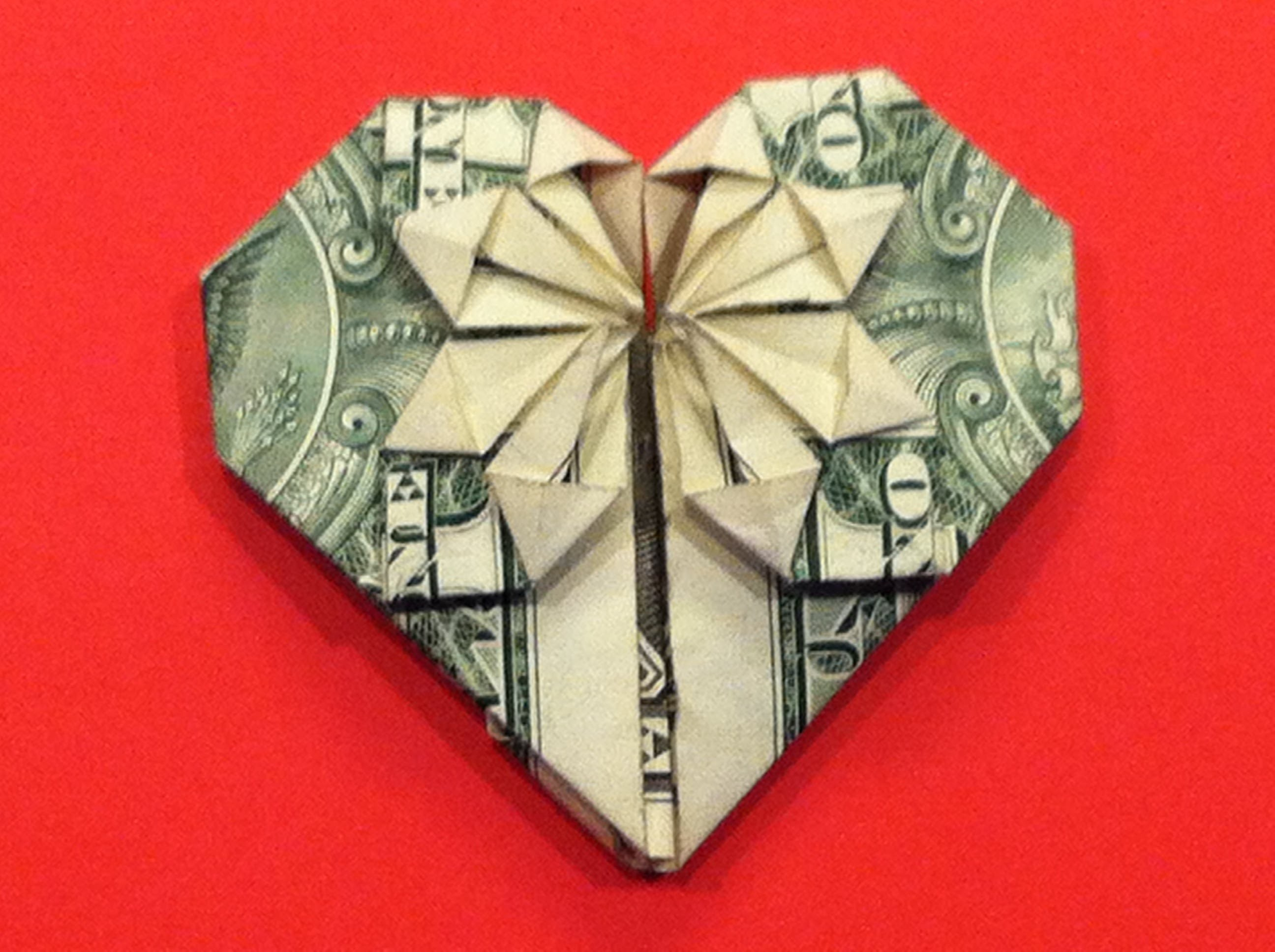 Origami Dollar Heart & Star How to make a Dollar heart with star