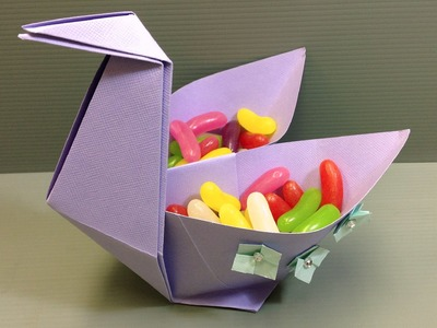 Origami Spring Easter Swan Candy Dish