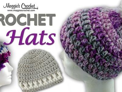 Serenity Pompom Hat Free Crochet Pattern - Left Handed