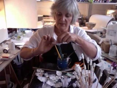 Series 1 - part 11 - strengthening papier mache 'flowers' with p.v.a + resin + modroc