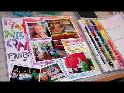 Watercolor scrapbook page rainbow