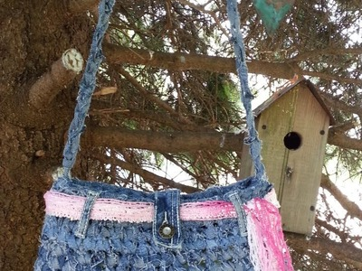 #Crochet Handbag Purse From Recycled Old Blue Jeans #TUTORIAL