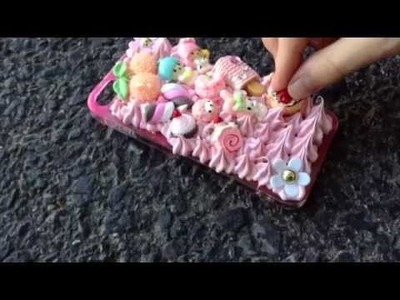DIY: Decoden Tutorial - Whipped Cream phone case (making a pink sweets case