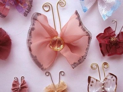 HOW TO MAKE EASY GATHERED FABRIC BUTTERFLY EMBELLISHMENT or TRIM
