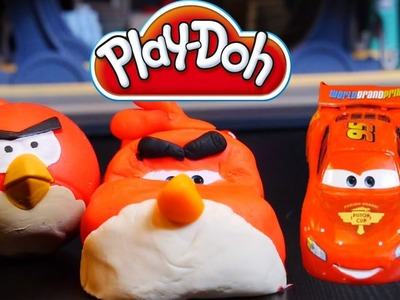 Play Doh Cars Angry Bird Creation - Disney Cars Toys Lightning Mcqueen Play Dough DIY Tutorial!