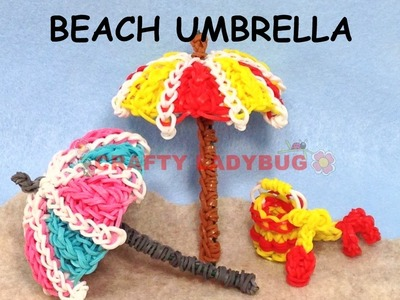 Rainbow Loom Band 3D BEACH UMBRELLA Difficult Charm Tutorials by Crafty Ladybug.How to DIY