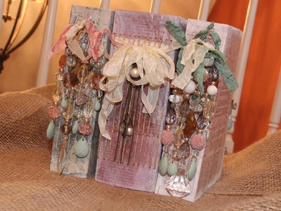 """Recycled Cereal Box Smash Book or Scrapbook Part 3 """"The Binding & The Beading"""""""