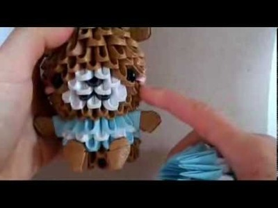3Dorigami bear in striped shirt part 1