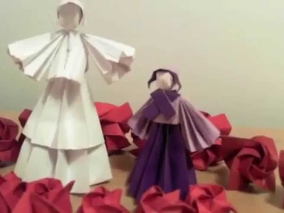 All paper Origami Dolls