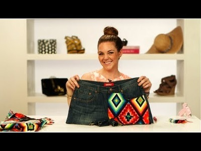 Aztec Print Denim Shorts, DIY Fashion, Fab Flash