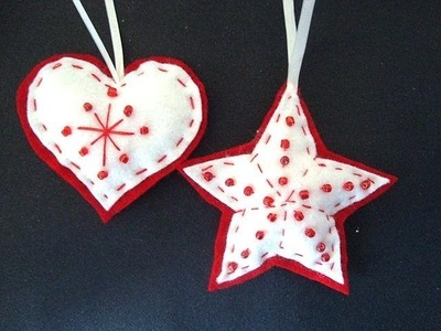 Beaded felt star and heart, Felt Christmas Ornaments, how to diy