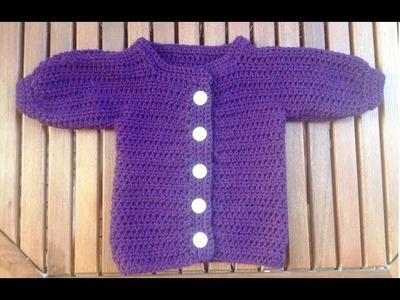Crochet Baby Jacket - Cardigan - Sweater -- Back part, part 1 by BerlinCrochet