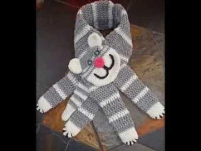 Crochet kawai cat scarf by Fibreromance