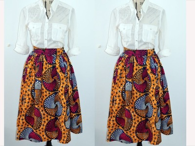 DIY Gathered Mid Skirt ( Easy Sewing)