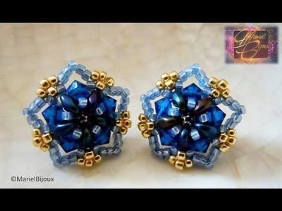 DIY - Tutorial - Orecchini a perno con superduo e swarovski (stud earrings)-stella blu.wmv