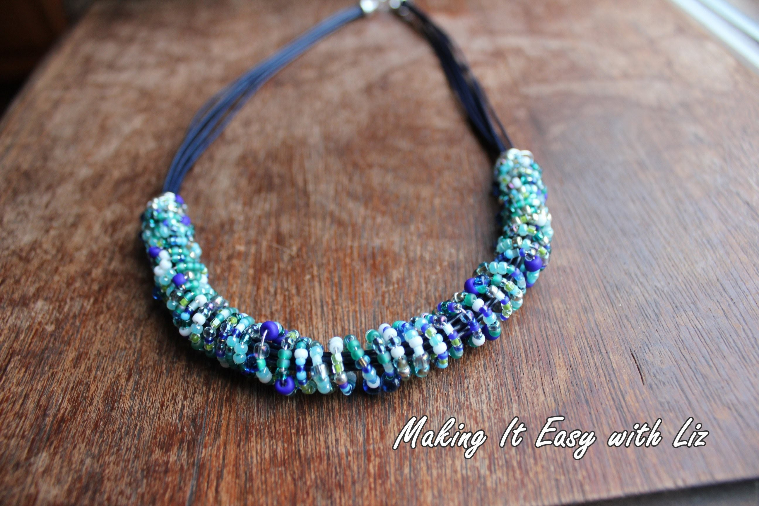 Ethnic Inspired Beaded Wire and Leather Necklace
