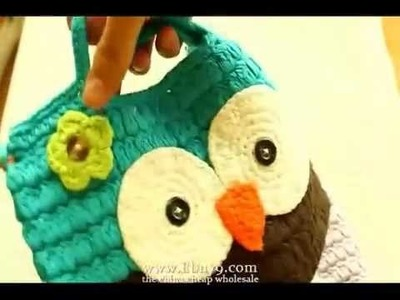 Handmade crochet cute owl girl handbag purse bag