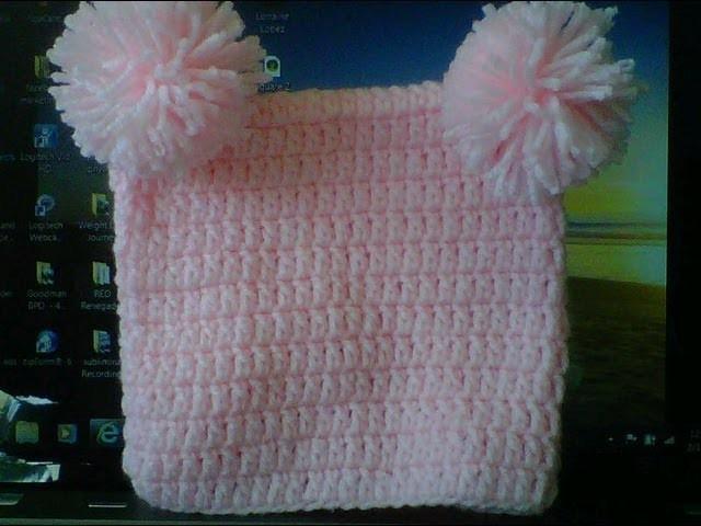 How to Crochet a square beanie with 2 pom poms