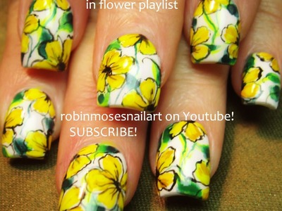 Nail Art Design - DIY Yellow Flower on White Nails Tutorial
