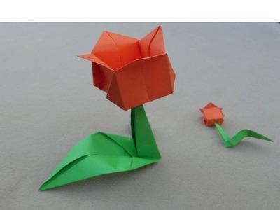 Origami flowers: Tulip - Flores de papel: Tulipan