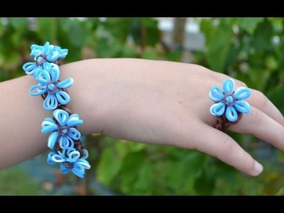 Rainbow loom Forget-me-not bracelet and ring tutorial in english DIY