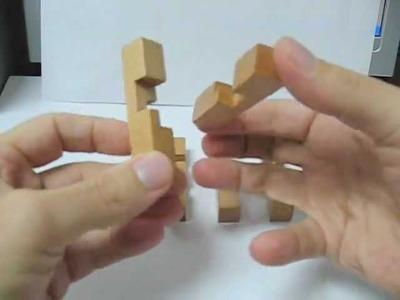 Burr Puzzle 3D Wooden Cross - Solution