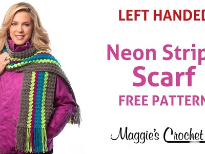 Deborah Norville Every Day Soft Yarn Neon Stripe Scarf Free Crochet Pattern - Left Handed