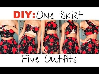 DIY| Make 1 Skirt Into 5 Outfits (No Sewing!)