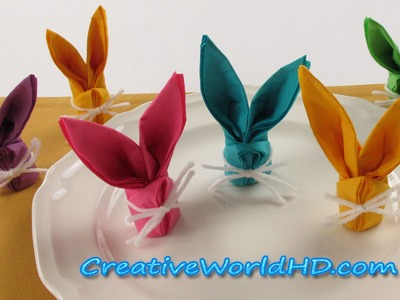 DIY Paper Crafts:Bunny.Rabbit Napkins Folding - How to Easter Kids Origami Tutorial