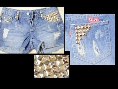 DIY studded Shorts +  Dresslink Review - Studs for shorts denim Levis studded shorts tutorial