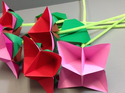 Easy Origami Roses for Valentine's Day