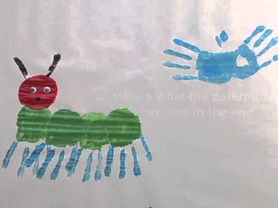 How to make a Very Hungry Caterpillar handprint art