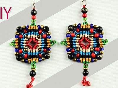 Macramé Cross-shaped Earrings Tutorial