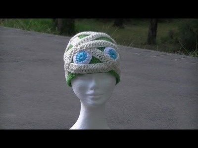 Mummy Crochet Hat - Great for Halloween