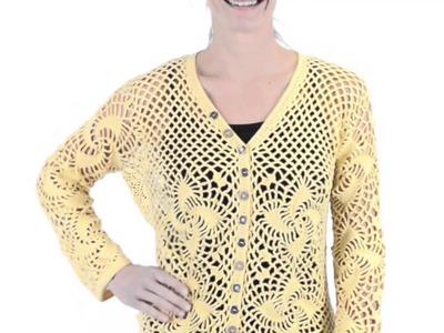 Pure Handknit Resort Crochet Cardigan Sweater (For Women)