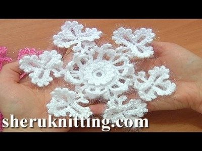 Snowflake Crochet Christmas Ornaments Tutorial 2 Part 1 of 2 Crochet Snow Flower
