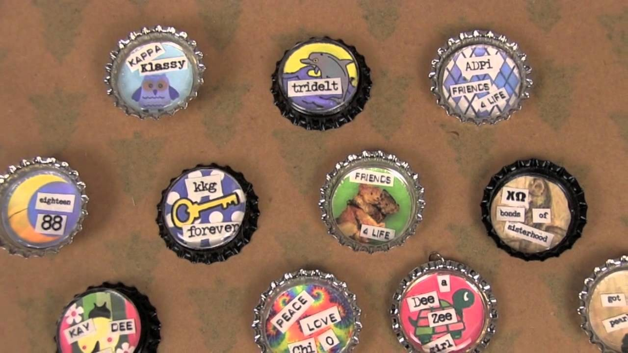 Bottle Cap Project:  How to make necklace, keychain, car charm