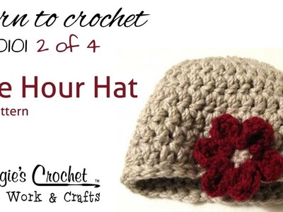 Crochet Flower Hat Pattern Easy How to by Maggie Weldon Part 2of4