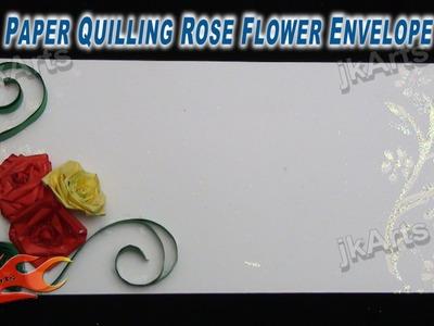 DIY Paper Quilling Rose Flower Envelope JK Arts 271