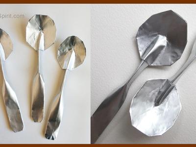 How to Make an Origami Spoon :: Cuchara de papel