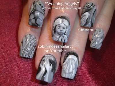 Nail Art Tutorial | Doctor Who Nails | Weeping Angels Nail Design