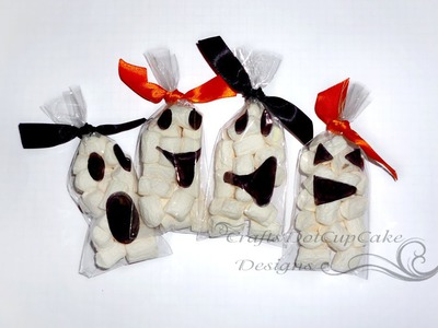 #4 Halloween Crafts Series 2012 - Ghost Face Marshmallow Treat Bags - Tutorial