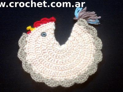 Agarradera Gallina en tejido crochet tutorial paso a paso.