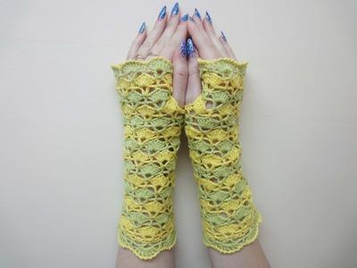 Ажурные митенки Вязание крючком Openwork mitts Crochet