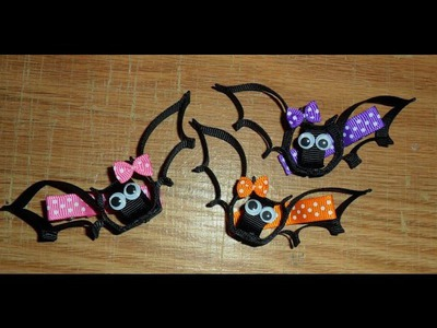 BAT Ribbon Sculpture Halloween Holiday Hair Clip Bow DIY Free Tutorial by Lacey