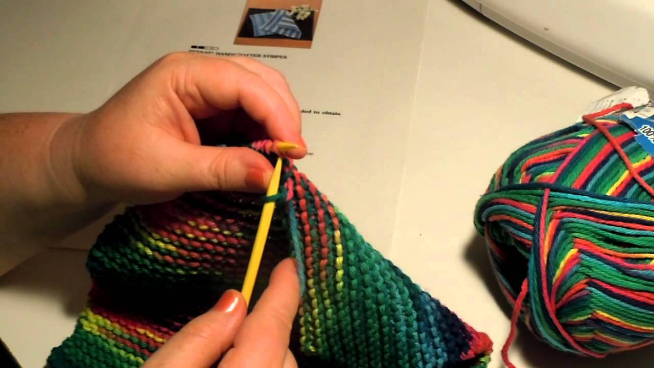 Beginner Knit Dishcloth - Last Row, Bind Off, Cast Off, Last Stitch
