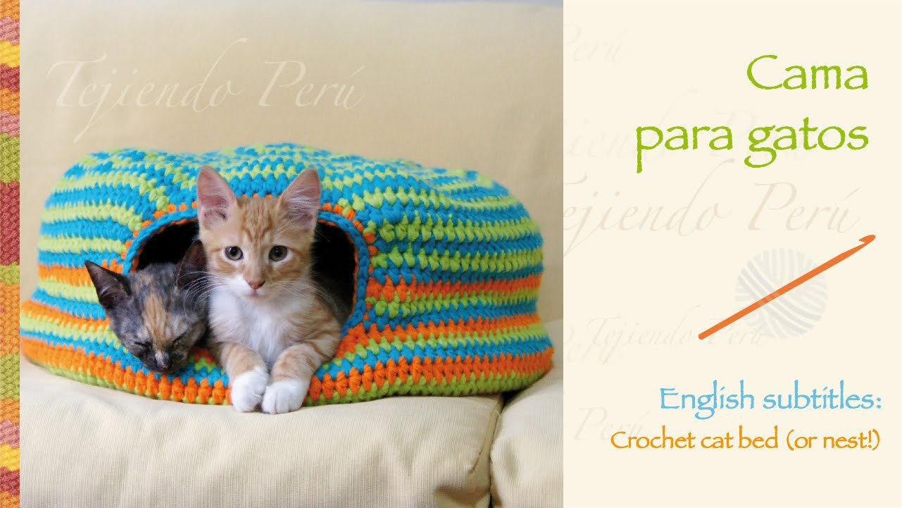 Cama para gatos tejida a crochet. Crochet cat bed or nest