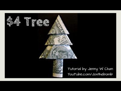 Christmas Crafts - DIY How to Fold Money Christmas Tree - Origami Tree - Money Origami (EASY)