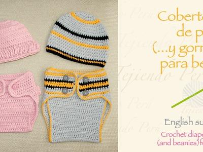 Cobertor de pañales tejido a crochet para bebés. Crochet diaper cover for babies
